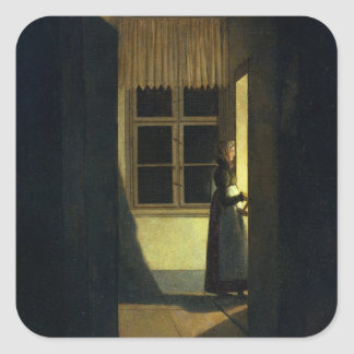 The Woman with the Candlestick, 1825 Square Sticker