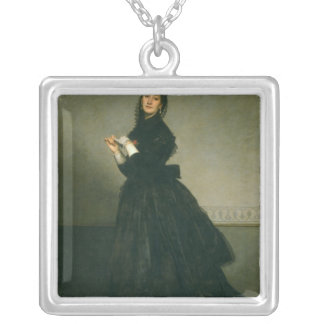 The Woman with the Glove, 1869 Silver Plated Necklace