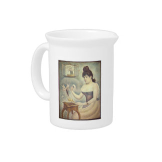 The woman with the powder puff by Georges Seurat Beverage Pitcher