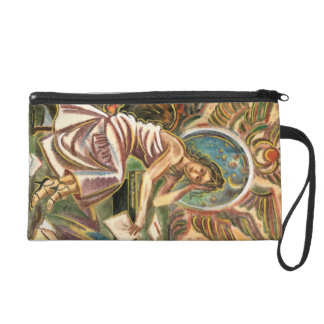 The Woman Writer Thinking Watercolor Painting Wristlet Purse