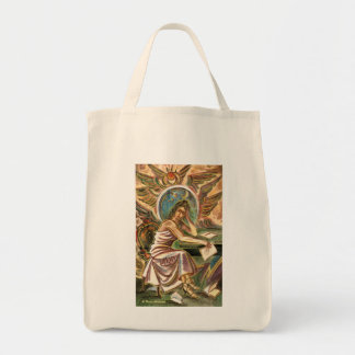 The Woman Writer Thinking Watercolor Painting Tote Bags