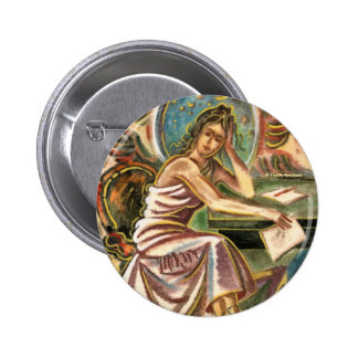 The Woman Writer Thinking Watercolor Painting Pinback Buttons
