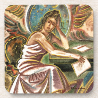 The Woman Writer Thinking Watercolor Painting Drink Coasters