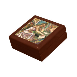 The Woman Writer Thinking Watercolor Painting Jewelry Box