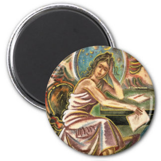 The Woman Writer Thinking Watercolor Painting Fridge Magnet