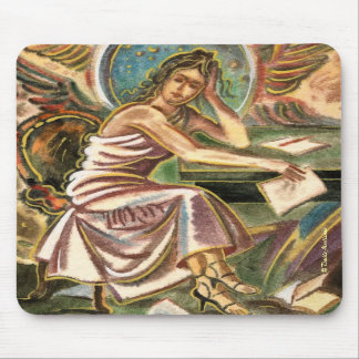 The Woman Writer Thinking Watercolor Painting Mouse Pads