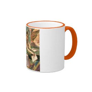 The Woman Writer Thinking Watercolor Painting Coffee Mug