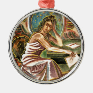 The Woman Writer Thinking Watercolor Painting Christmas Tree Ornament