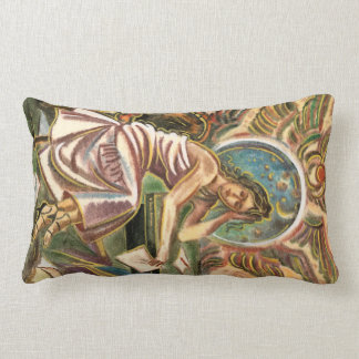 The Woman Writer Thinking Watercolor Painting Pillows