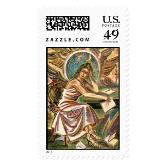 The Woman Writer Thinking Watercolor Painting Postage