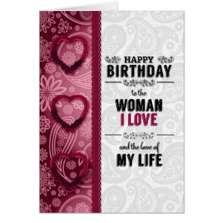 the Woman You Love Birthday in Pink and White Card
