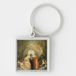 The Women of the Comedie Francaise Silver-Colored Square Keychain