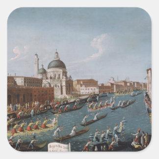 The Women's Regatta on the Grand Canal, Venice Square Sticker