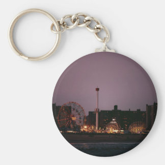 The Wonder Wheel and Cyclone at Night Basic Round Button Keychain