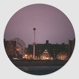 The Wonder Wheel and Cyclone at Night Classic Round Sticker