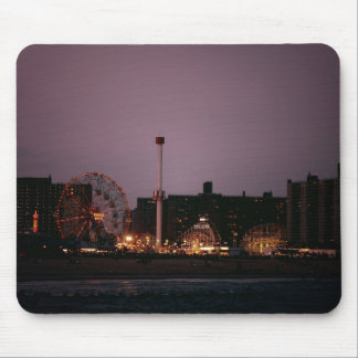 The Wonder Wheel and Cyclone at Night Mouse Pad
