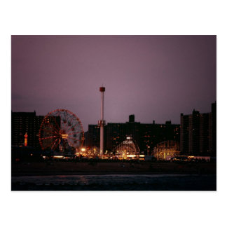 The Wonder Wheel and Cyclone at Night Postcard