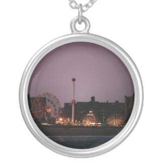 The Wonder Wheel and Cyclone at Night Round Pendant Necklace