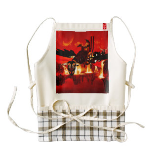 The wonderful  steam dragon in the sunset zazzle HEART apron