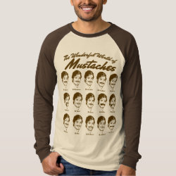 Men's Canvas Long Sleeve Raglan T-Shirt with Wonderful World of Mustaches design