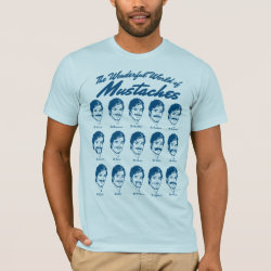 Men's Basic American Apparel T-Shirt with Wonderful World of Mustaches design