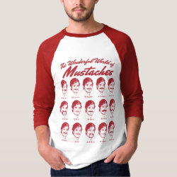 Men's Basic 3/4 Sleeve Raglan T-Shirt with Wonderful World of Mustaches design