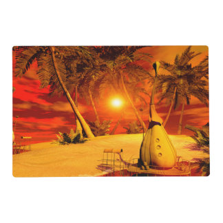 The wonderland with fish house in the sunset placemat