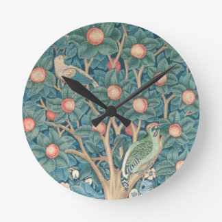 The Woodpecker Tapestry, detail of the woodpeckers Round Clock