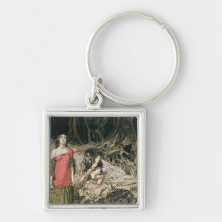 The Wooing of Grimhilde, the mother of Hagen Silver-Colored Square Keychain