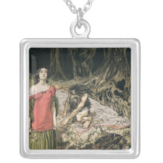 The Wooing of Grimhilde, the mother of Hagen Square Pendant Necklace