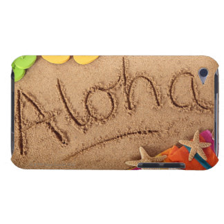The word Aloha written on a sandy beach, with 2 Barely There iPod Cover