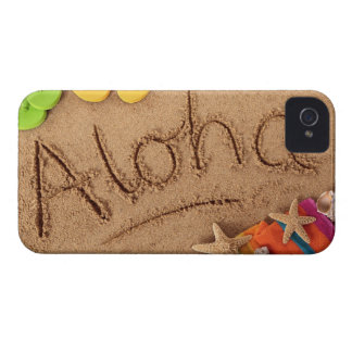 The word Aloha written on a sandy beach, with 2 iPhone 4 Case-Mate Case