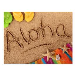 The word Aloha written on a sandy beach, with 2 Postcard