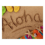The word Aloha written on a sandy beach, with 2 Posters