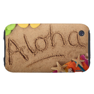The word Aloha written on a sandy beach, with 2 Tough iPhone 3 Case
