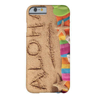 The word Aloha written on a sandy beach, with Barely There iPhone 6 Case