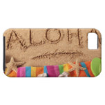 The word Aloha written on a sandy beach, with iPhone 5 Cases