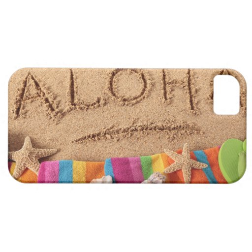 The word Aloha written on a sandy beach, with iPhone 5 Covers