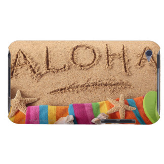 The word Aloha written on a sandy beach, with iPod Case-Mate Case