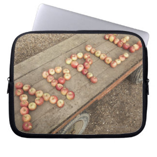 The word 'apple' in apples computer sleeve
