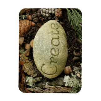 The word Create - etched in stone Rectangular Photo Magnet
