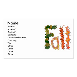 """The word """" Fall """" written in leaf graphics Business Card"""