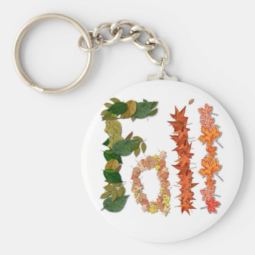 "The word "" Fall "" written in leaf graphics Key Chains"