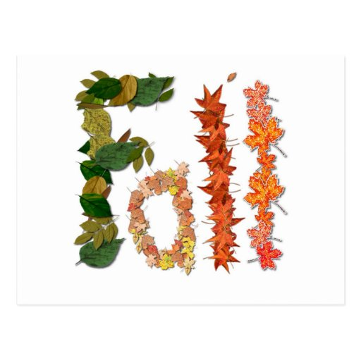 """The word """" Fall """" written in leaf graphics Postcard"""