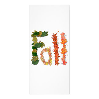 """The word """" Fall """" written in leaf graphics Customized Rack Card"""