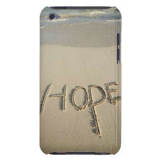 The word 'Hope' sand written on the beach with Barely There iPod Cover