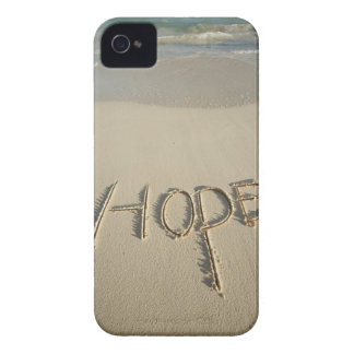 The word 'Hope' sand written on the beach with Case-Mate iPhone 4 Case