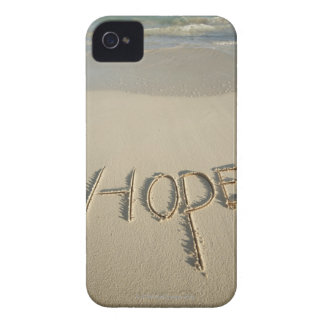 The word 'Hope' sand written on the beach with iPhone 4 Case