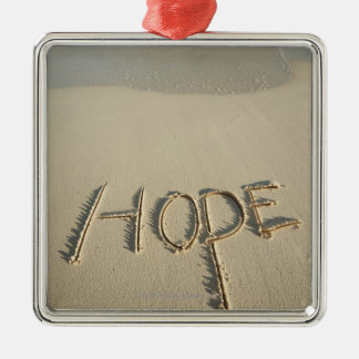 The word 'Hope' sand written on the beach with Square Metal Christmas Ornament