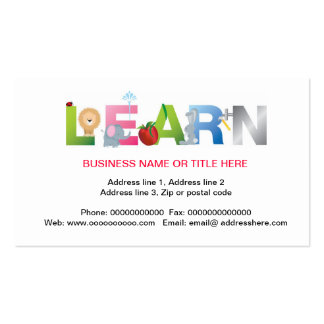 the word learn education business card